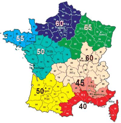 zones thermiques réglementaires RT 2012