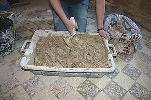 mortier monocouche terre chaux paillettes de lin
