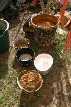 Formulation de l'enduit terre et chaux avec paillettes de lin