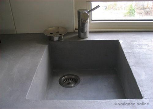 évier en beton ciré